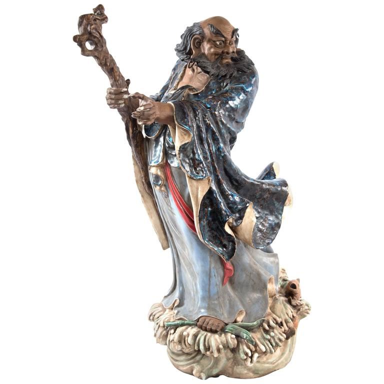 19th Century Sculpture of Chinese Deity or Immortal