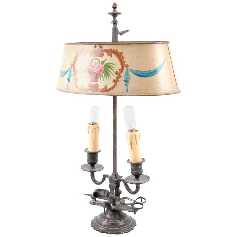 19th Century French Beaux-Arts Bouillotte Lamp with Painted Metal Shade
