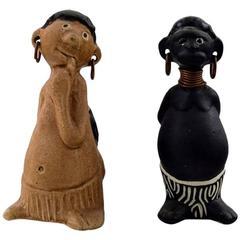 Rolf Palm, Höganäs, Two Hottentots, Unique Ceramic Figures, Swedish Design