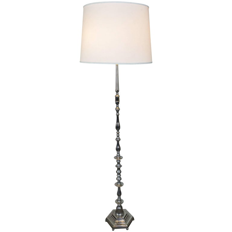 French Nickel-Plated Floor Lamp with Hexagonal Base