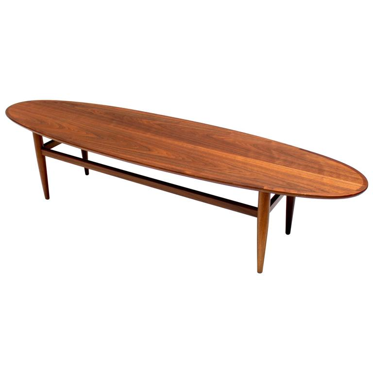 Mid Century Modern Walnut Surfboard Coffee Table By Heritage At 1stdibs