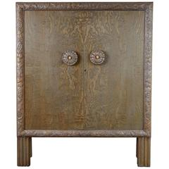 Gustavian Style Highly Detailed Carved Circassian Oak Cabinet, Circa 1920