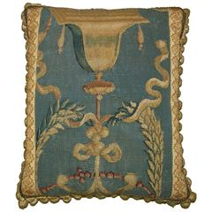 Antique French Tapestry Pillow, circa 1720