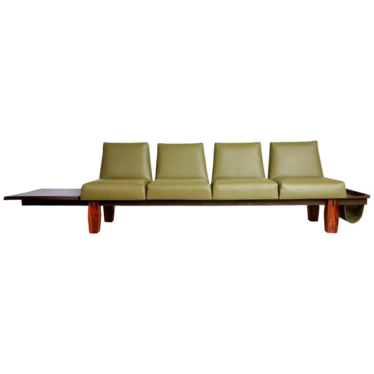 Jorge Zalszupin for L'atelier Brazilian Rosewood and Leather Sofa w Side Table For Sale