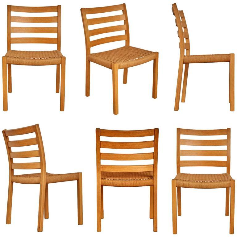 jorgen moller for jl mller oak dining chairs six 1