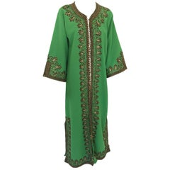 Moroccan Vintage Caftan Green Maxi Dress circa 1970 Size L