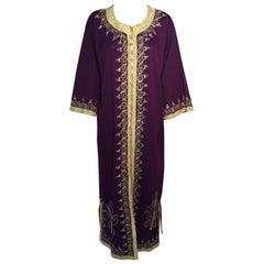 Moroccan Purple Vintage Caftan Maxi Dress Kaftan 1970 Size M to L