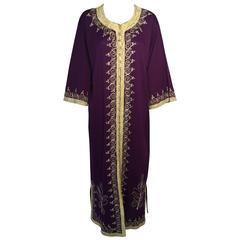 Moroccan Purple Vintage Caftan Maxi Dress Kaftan 1970 Size M to L