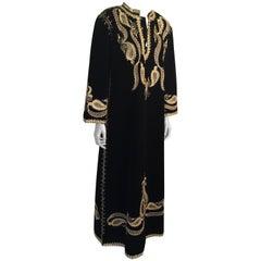 Black and Gold Velvet Bindali Caftan Maxi Dress Kaftan Size Large