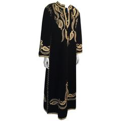 Turkish Black and Gold Velvet Caftan Maxi Dress Kaftan Size Large