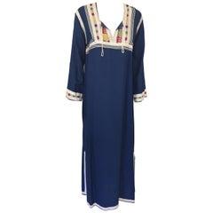 Moroccan Cotton Blue Caftan, 1970 Maxi Dress Kaftan by Glenn Boston Size M