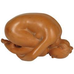 Maria Gamundi Crouching Nude Terracotta Figure
