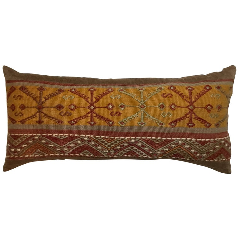 Flat-Weave Rug Fragment Pillow For Sale