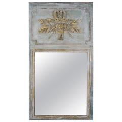 19th Century French Painted and Parcel-Gilt Trumeau Mirror