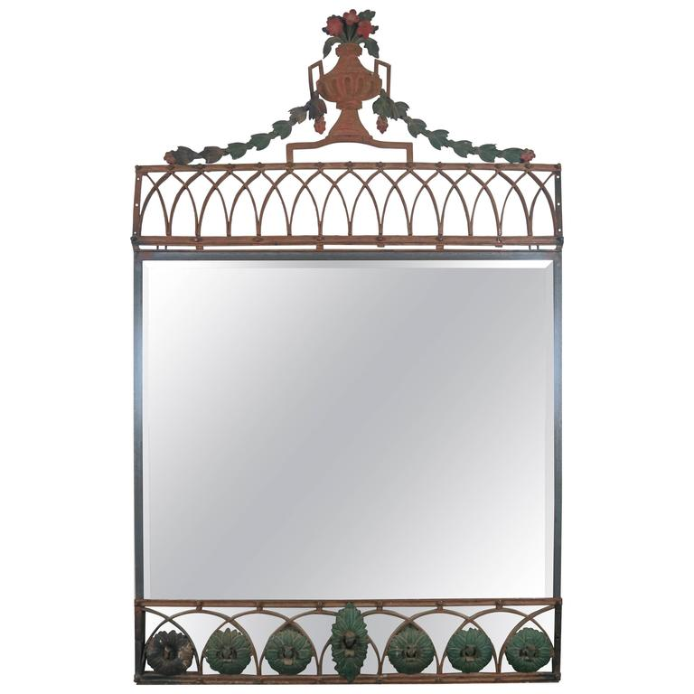 19th Century Painted French Wrought Iron Mirror with Urn For Sale