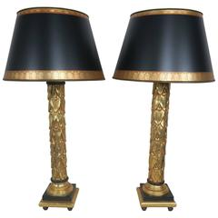 Neoclassical Style 22K Gold Leaf & Black Lamps w/ Parchment Shades, Pair