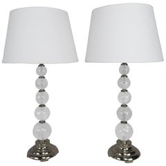 Rock Crystal and Polished Brass Lamps with Linen Shades