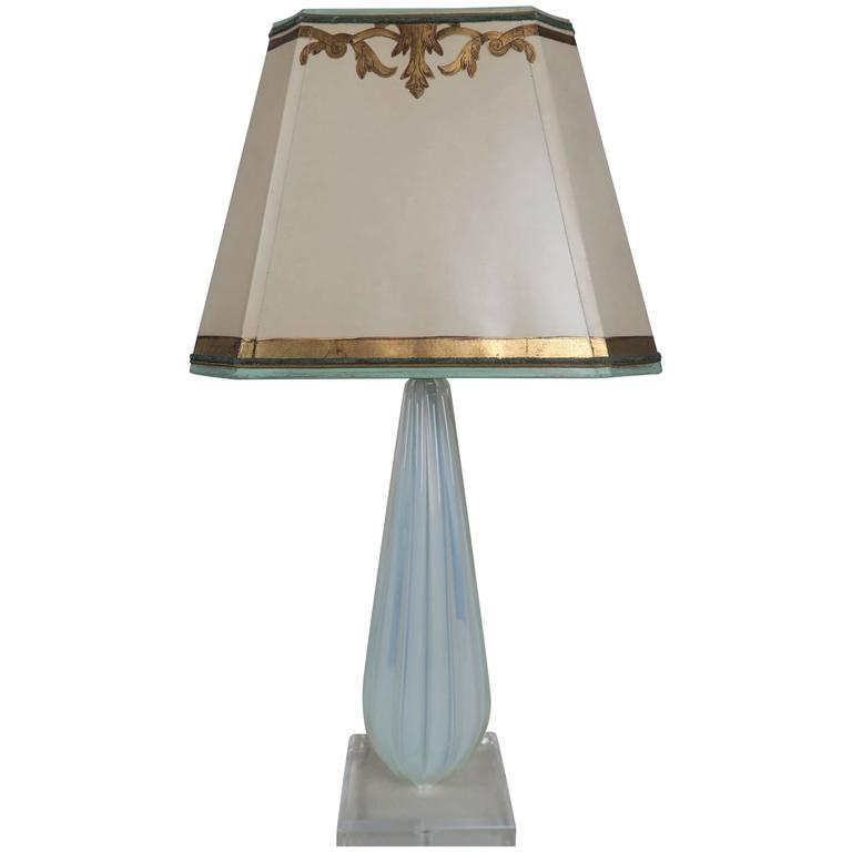 Italian murano glass aqua blue lamp with custom parchment shade for sale at 1stdibs - Artistic d lamp shade designed with modern and elegant shape style ...