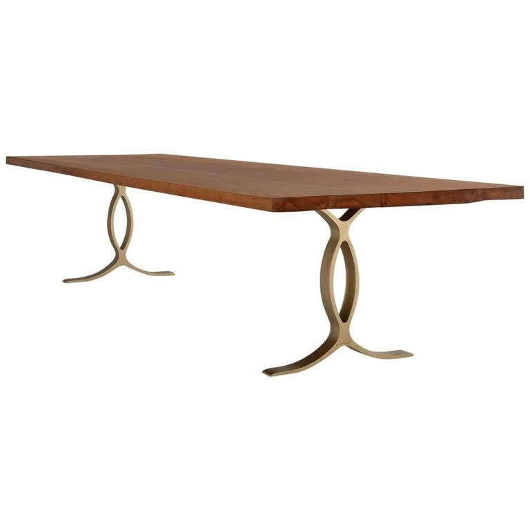 Bespoke Reclaimed Hardwood Table on Solid Sand-Cast Brass Base by P. Tendercool