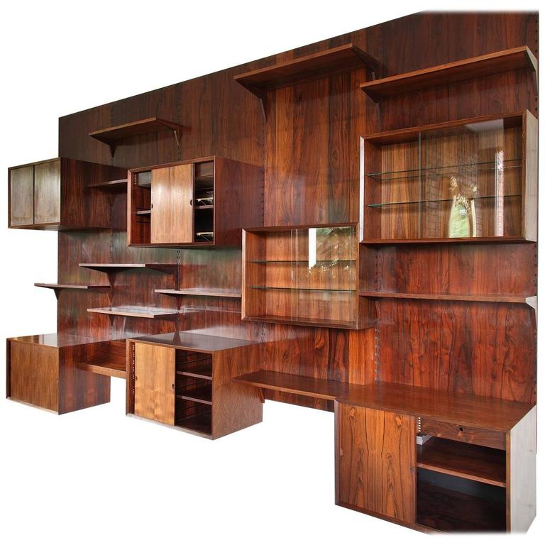 Brazilian Rosewood Wall-Unit by Poul Cadovius, Denmark, 1970s