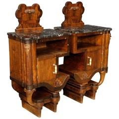 20th Century Pair of Italian Bedside Tables in Walnut Wood with Marble Top