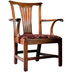 George II Period Mahogany Open Armchair
