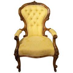 Good Carved Walnut Victorian Period Antique Armchair
