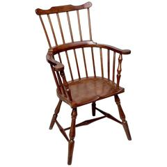 Rare Colonial Jamaican Mahogany Windsor Comb-Back Armchair