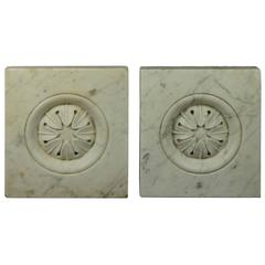 19th Century Pair of White Carrara Marble Rosette Carvings Louis XVI Style