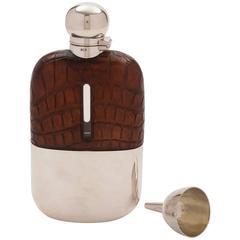 20th Century Edwardian Crocodile Leather Covered Hip Flask, circa 1905