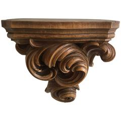 Expressive Baroque Hand-Carved Wall Bracket