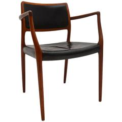 Danish Rosewood and Leather Armchair by Niels Møller Vintage, 1960s