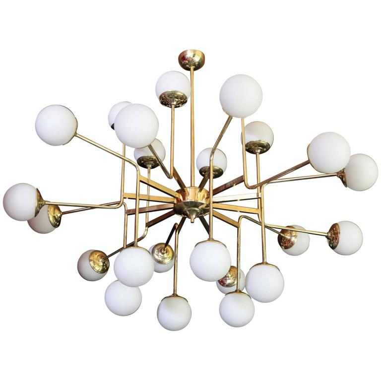 Exceptional Huge Brass Chandelier with Glass Globes in the Manner of Stilnovo