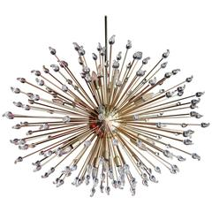 Impressive Brass Sputnik Chandelier with Murano Glass Teardrops