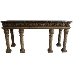 19th Century Bleached Oak Console Table