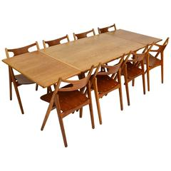 Hans Wegner At312 / Sawbuck Dining Set in Teak and Oak