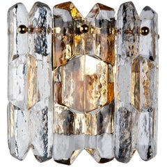 Kalmar Palazzo Glass Sconce with Austrian Glass on a Gilded Frame
