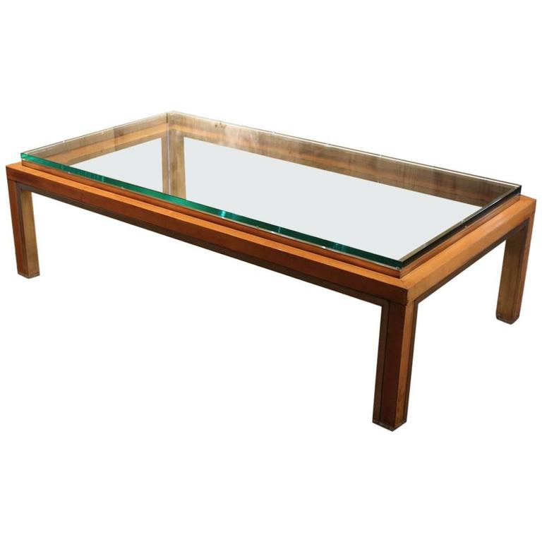 Italian, 1970s Sycamore and Brass Coffee Table