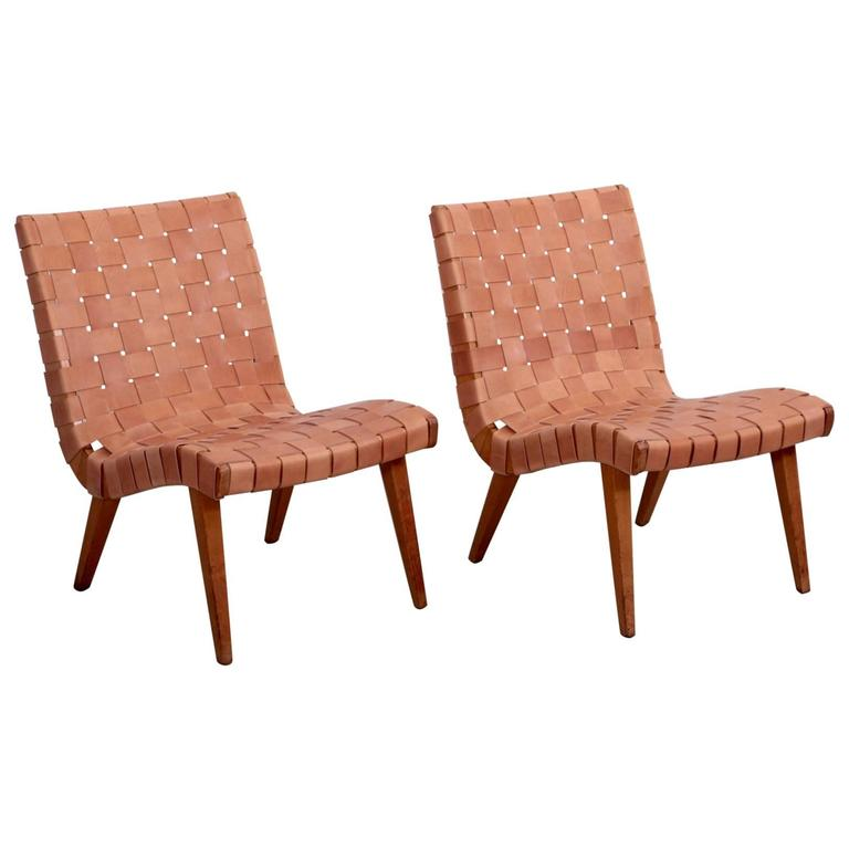 pair of early jens risom 654w lounge chairs by knoll with new leather