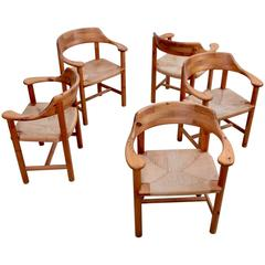 Set of Five Rainer Daumiller Dining Arm Chairs in Solid Pine Wood