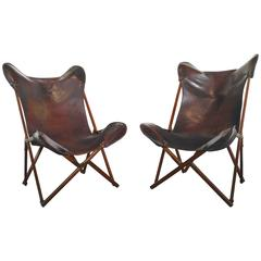 """Exceptional """"Tripolina"""" Folding Chairs by Vittoriano Vigano"""