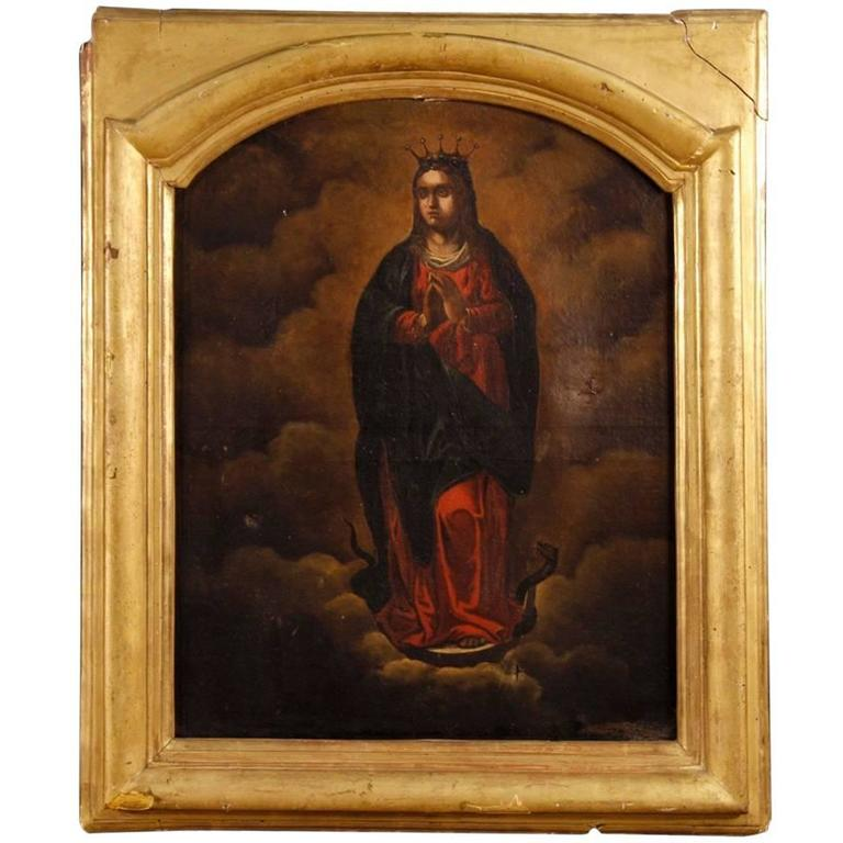 Religiious Small Wooden Oil Painting