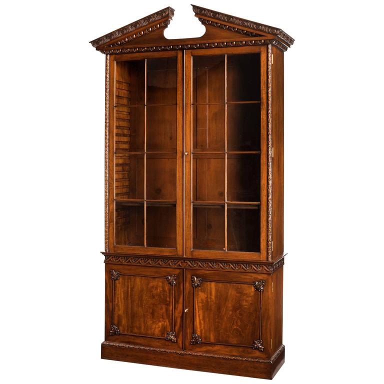Chippendale Period Mahogany Low Waisted Bookcase For Sale