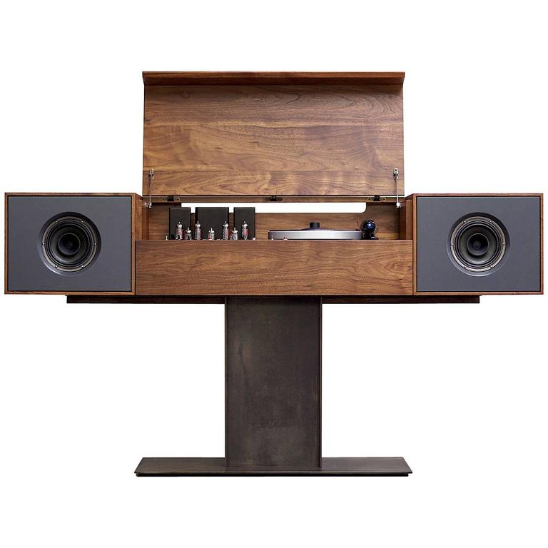 Modern Record Console Slate Grey Speaker Front For Sale