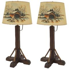 Pair of American Rustic Old Hickory 1930s Table Lamps