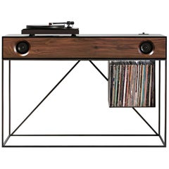 Stereo Console Table Jet Black Cabinet with Walnut Front with Turntable Package