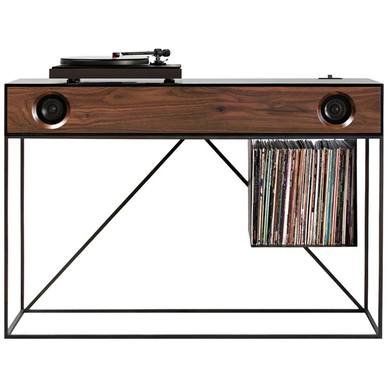 Stereo Console Table Jet Black Cabinet with Walnut Front with Turntable Package 1