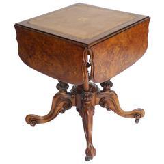 Victorian Burr Walnut Games Table