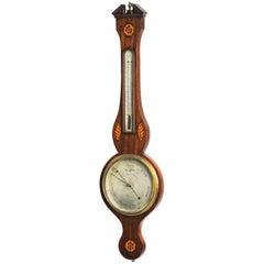 George III Period Mahogany Barometer by Ceser Scalfini.