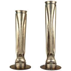 Thomas Roy Markusen Brutalist Nickel Plate Vases, Pair
